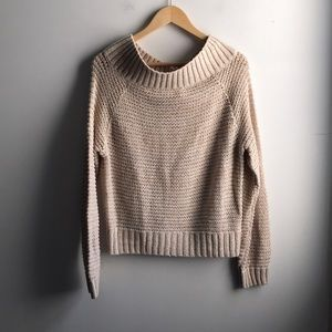 NWOT Kimchi Blue cream knit off shoulder sweater